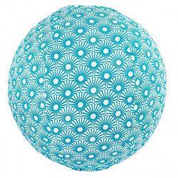 Lampion tissu boule japonaise rond Solas pétrole