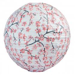 Lampion tissu boule japonaise rond Sakura gris perle