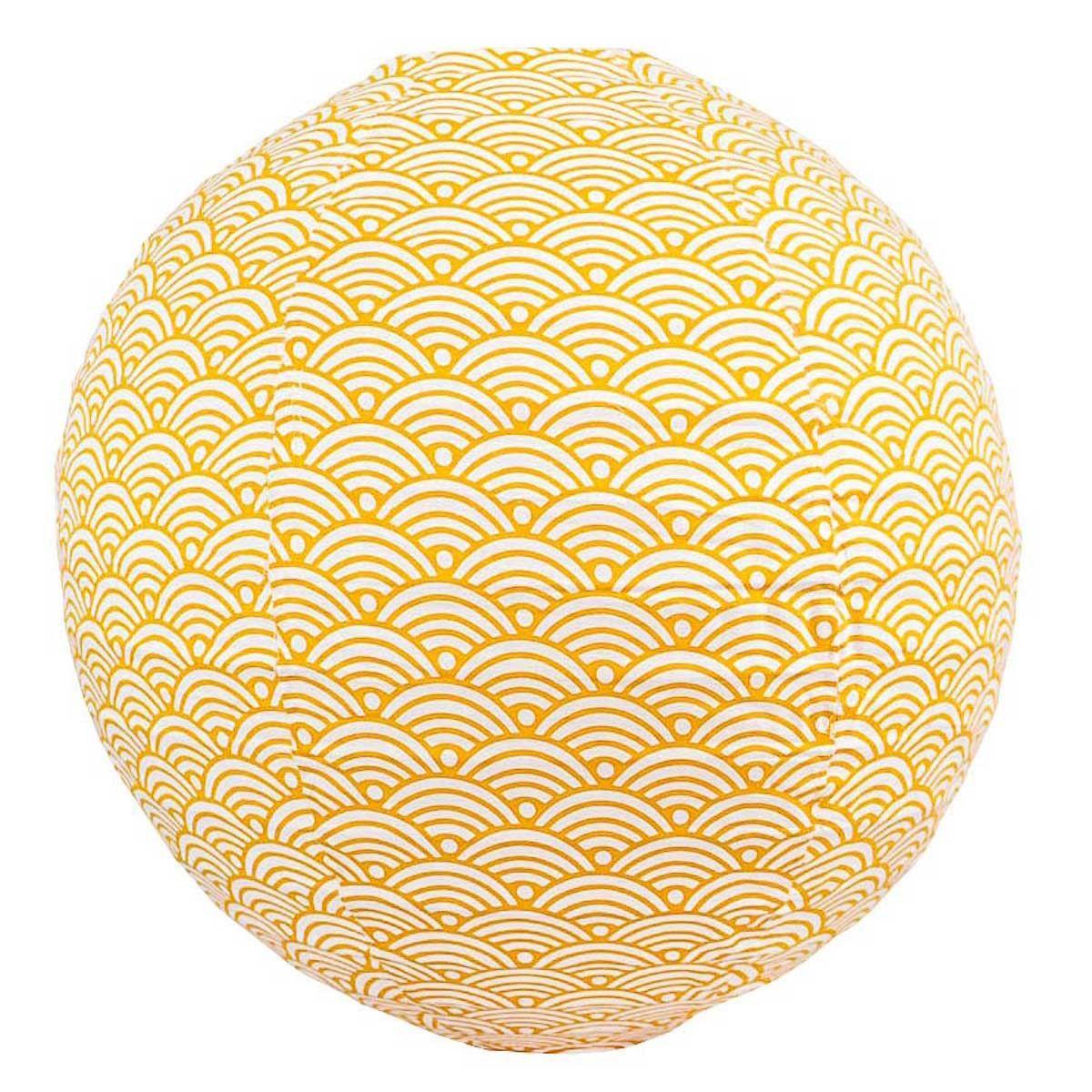Lampion tissu boule japonaise rond Nami moutarde