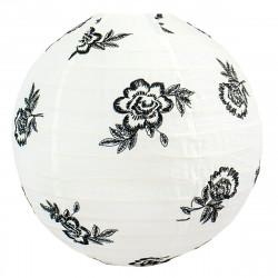 Lampion tissu boule japonaise rond Black roses
