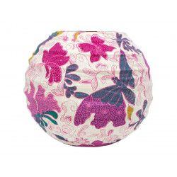 Lampion tissu boule japonaise Papillons roses