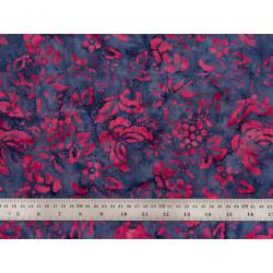 Tissu patchwork bleu papillons framboise