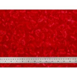 Tissu patchwork rouge carmin à fleurs rouges