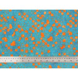 Tissu patchwork orange et turquoise