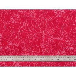 Tissu patchwork motifs roses sur fond framboise