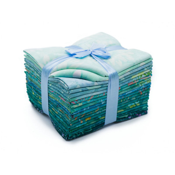 Lot de vingt batik fat quarters tons bleus