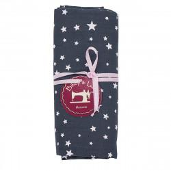coupon tissu coton gris étoiles blanches