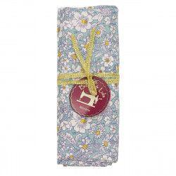 coupon tissu coton bleu ciel parsemé de petites fleurs blanches et jaunes