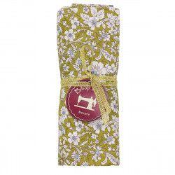 coupon tissu coton vert parsemé de petites fleurs blanches et bleues