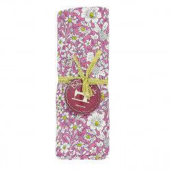 coupon tissu coton rose parsemé de petites fleurs blanches et vertes