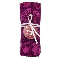 coupon tissu coton papillons roses sur fond prune