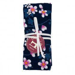coupon tissu coton fleurs japonaises roses sur fond bleu marine