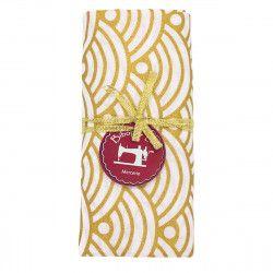 coupon tissu coton vagues dorées sur fond blanc