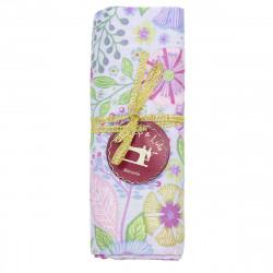 coupon tissu coton fleurs pastel sur fond bleu ciel