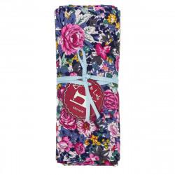 coupon tissu coton fleuri tons roses et bleus