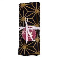 coupon tissu coton motifs géométriques dorés sur fond noir