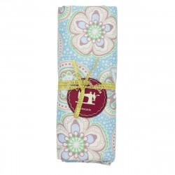 coupon tissu coton grosses fleurs fond bleu ciel