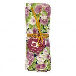 coupon tissu coton fleurs japonaises framboises