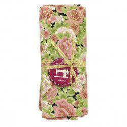 coupon tissu coton fleurs japonaises vieux rose