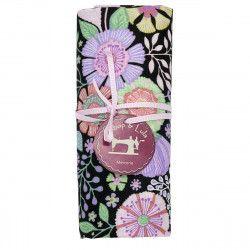 coupon tissu coton fleurs multicolores sur fond noir