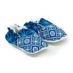 Chaussons bébé souples 0-24 mois bleu