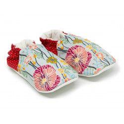 Chaussons bébé souples 0-24 mois bleu clair et rouge avec coquelicot