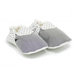 Chaussons bébé souples 0-24 mois blanc et gris