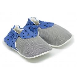 Chaussons bébé souples 0-24 mois bleu et gris