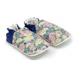 Chaussons bébé souples 0-24 mois bleu et fleurs rose