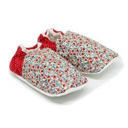 Chaussons bébé souples 0-24 mois rouge et gris petites fleurs