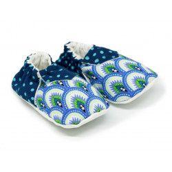 Chaussons bébé souples 0-24 mois bleu à pois et motifs