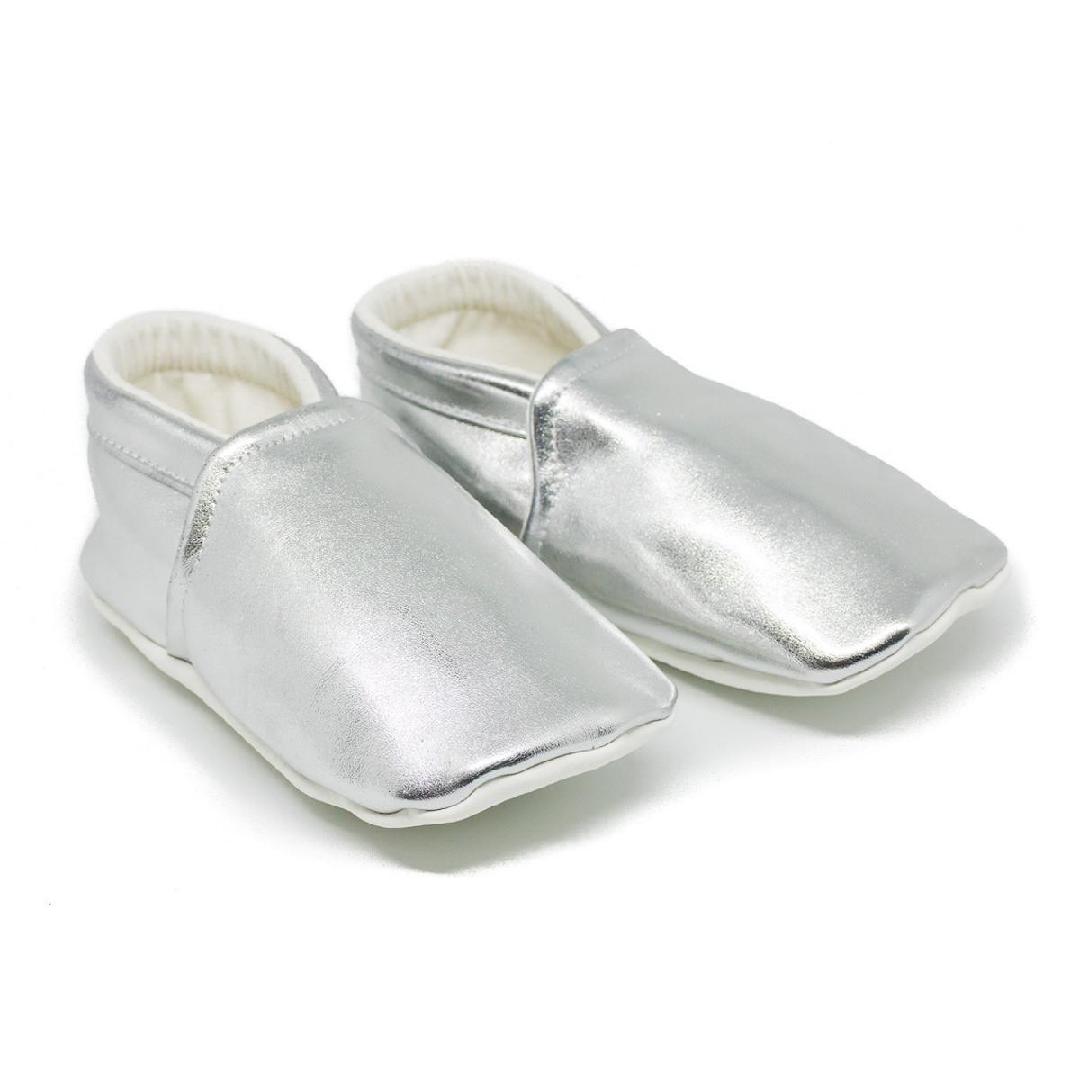 Chaussons bébé souples 0-24 mois brillant gris argent