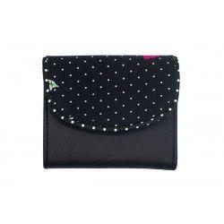 Portefeuille petit format original noir et fleurs