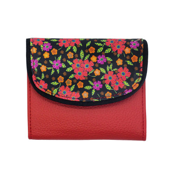 Portefeuille petit format original rouge et noir à fleurs