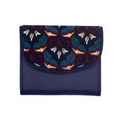 Portefeuille petit format original bleu roi et motifs