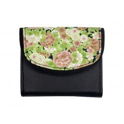 Portefeuille petit format original noir et fleurs rose vert pâle