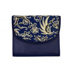 Portefeuille petit format original bleu nuit et motifs