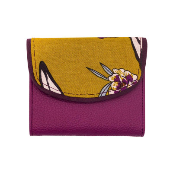 Portefeuille petit format original rose violine et jaune moutarde à fleurs