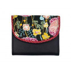 Portefeuille petit format original noir et coquelicot rouge