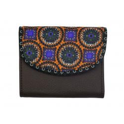 Portefeuille petit format original marron brun foncé et motifs orange violet