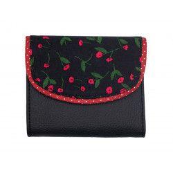 Portefeuille petit format original noir et rouge fraise à petites fleurs