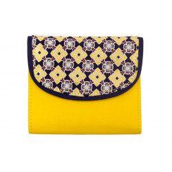 Portefeuille petit format original jaune et motifs bleu marine