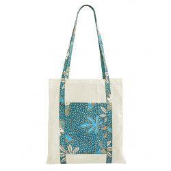 Tote bag sac coton imprimé turquoise