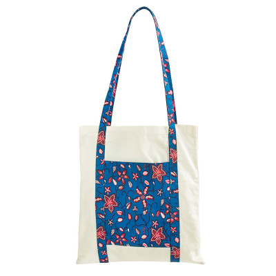 Tote bag sac coton imprimé bleu et rose terracotta