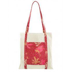 Tote bag sac coton imprimé rouge et corail