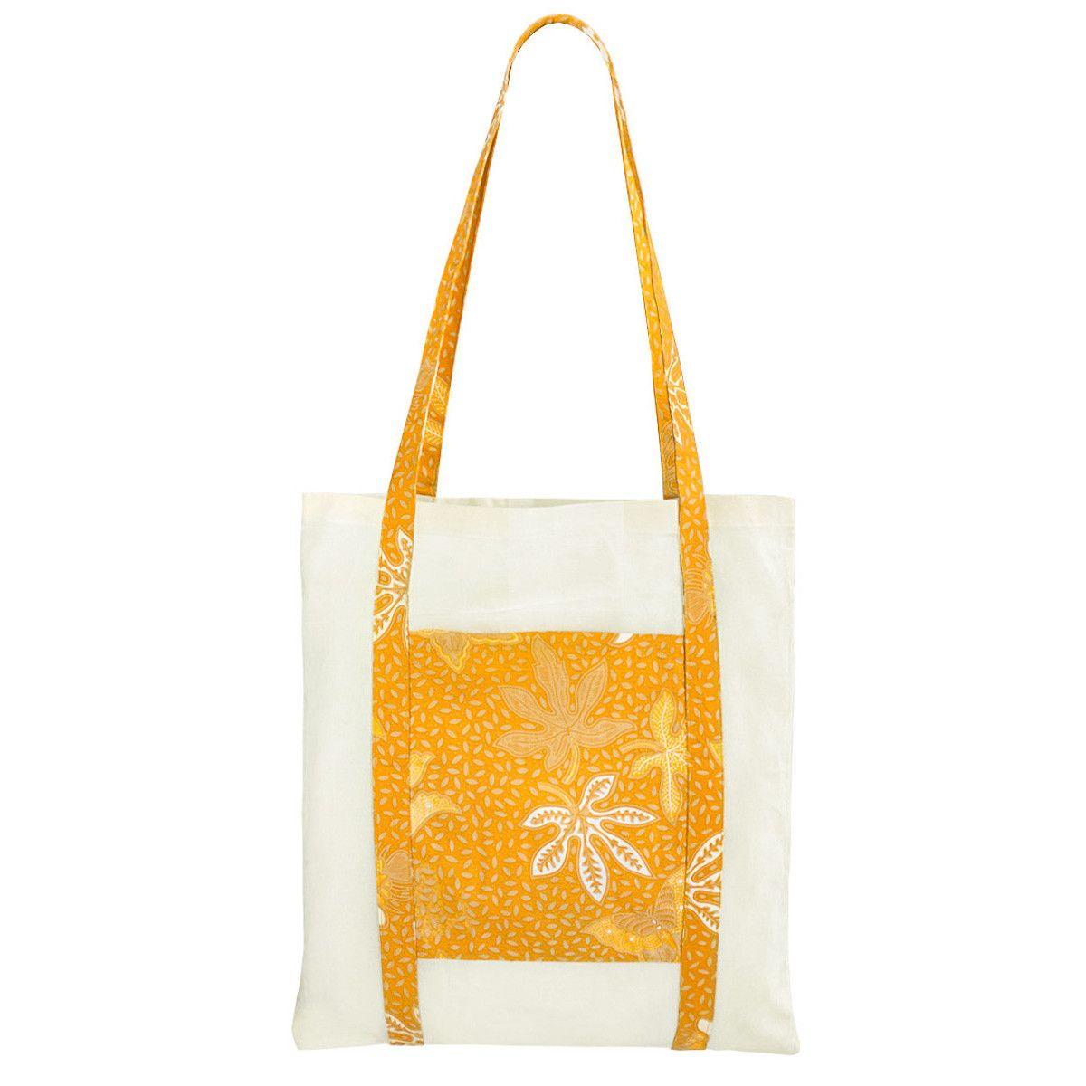 Tote bag sac coton imprimé jaune moutarde