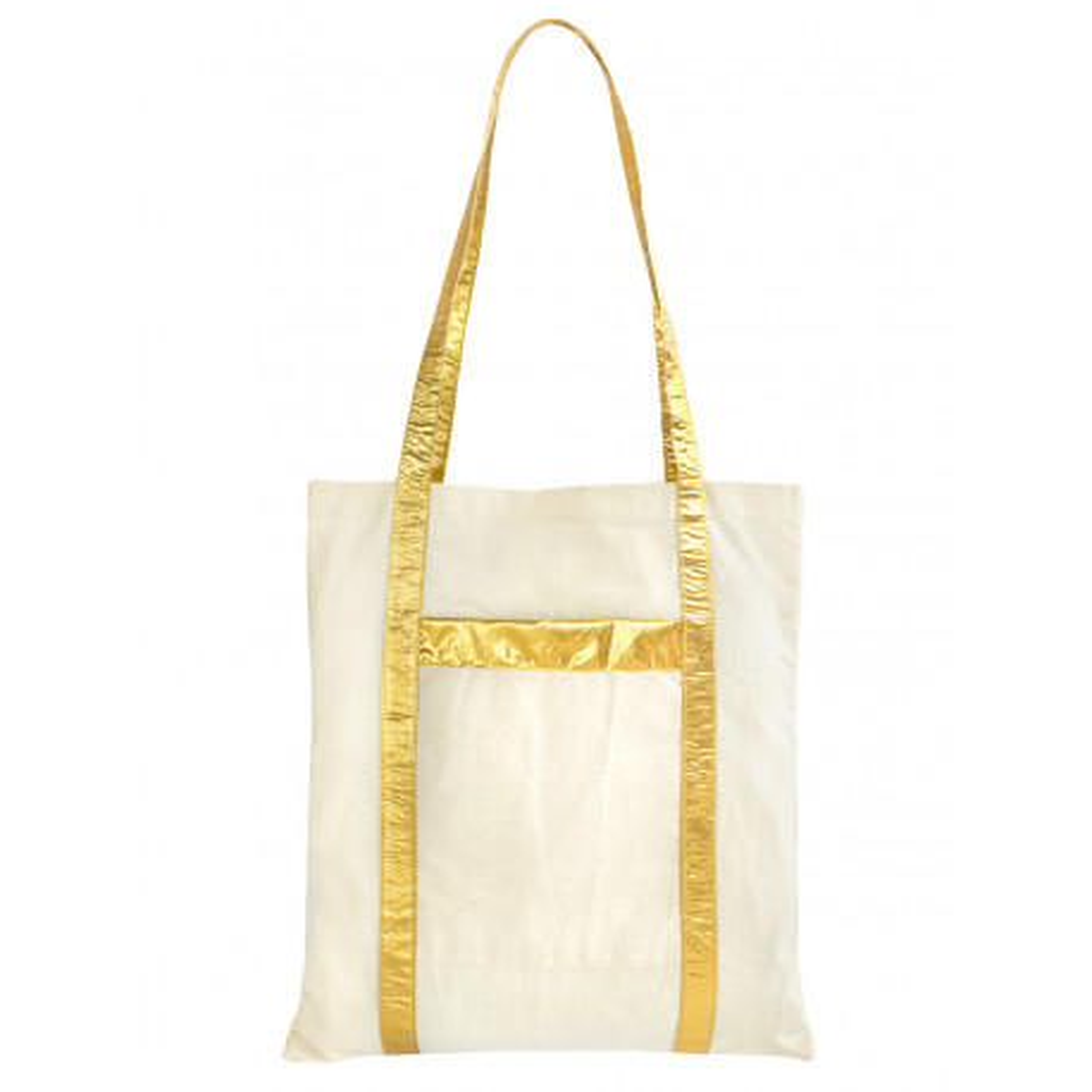 Tote bag sac coton écru et or