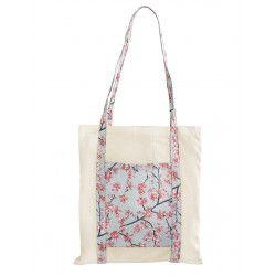 Tote bag sac coton imprimé bleu clair et fleurs cerisiers