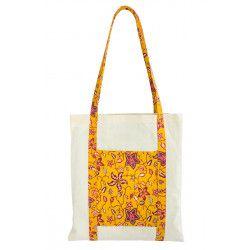Tote bag sac coton imprimé jaune et fleurs rose