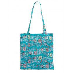 Tote bag sac coton imprimé bleu vert à fleurs